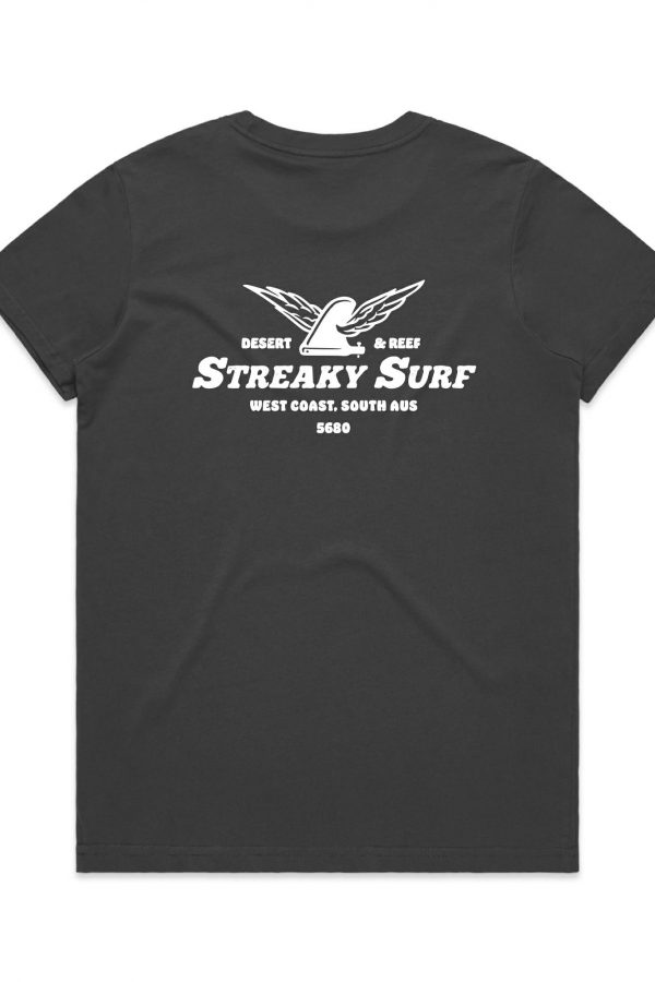 Streaky Surf Flying Fin Charcoal Tee