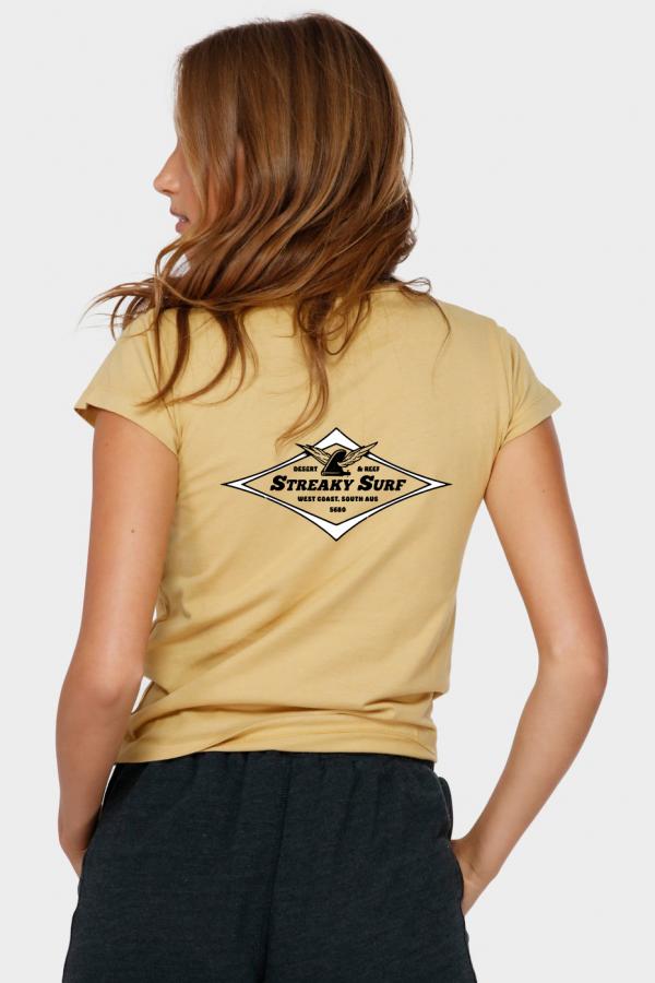 Streaky Surf Ff Womens Yellow Fade Tee